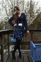 navy Jens Mode jacket - white H&M shirt - blue Soho skirt - black Alysa mode sho