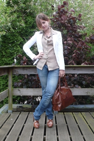 beige blouse - brown River Island shoes - blue Zara jeans - white Mexx jacket