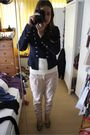Blue-jens-mode-jacket-white-h-m-shirt-beige-we-pants-green-zara-shoes