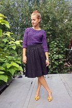purple H&M sweater - black H&M skirt - yellow H&M heels