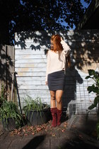 cream H&M sweater - maroon new look boots - charcoal gray Jessica skirt