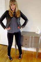 black Forever 21 jacket - black H&M shirt - Gap jeans