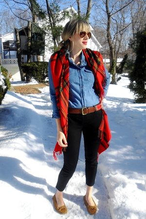 red Forever 21 accessories - blue Forever 21 shirt - J Crew pants