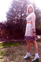 white Forever 21 dress - blue vintage dress - white Target accessories - green T