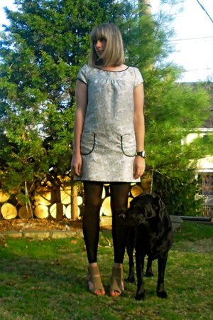 blue kensie dress - black Walmart tights - beige modcloth shoes - black adidas a