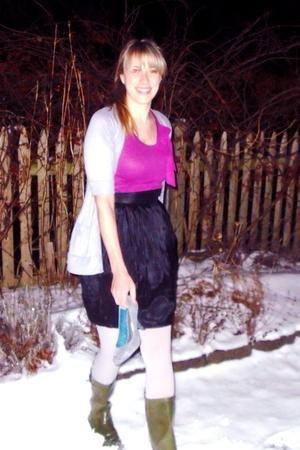 gray Target cardigan - purple Gap t-shirt - black delias skirt - silver Target a