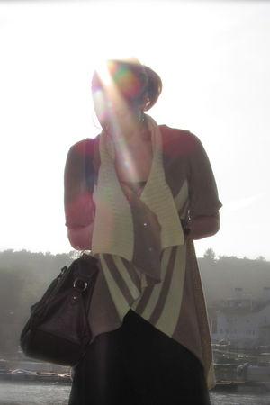 yellow yaya cardigan - green Target dress - brown Target purse - gold H&M earrin