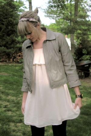 gray Loft jacket - pink H&M blouse - black J Crew pants - black adidas accessori