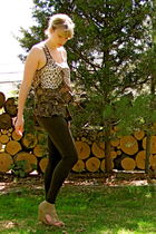 beige Marshalls blouse - black Marshalls leggings - brown Target belt - beige mo