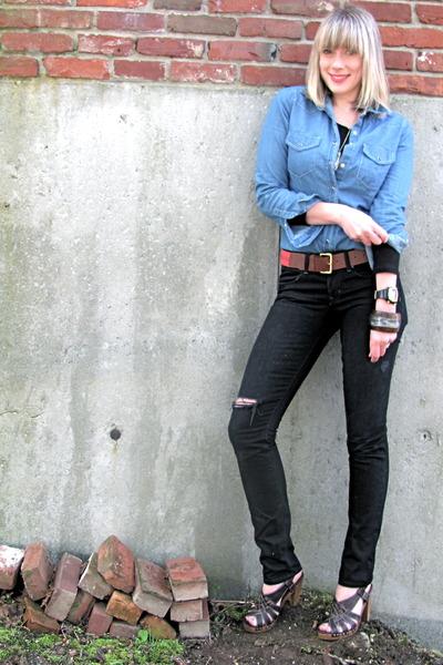 brown clogs Target shoes - black Gap jeans - red H&M belt