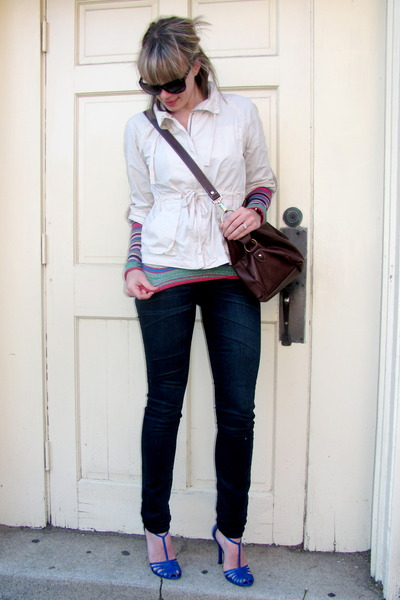 beige Old Navy jacket - pink Marc Jacobs t-shirt - blue Gap jeans - blue Charles