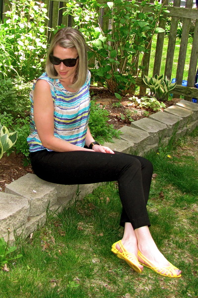 blue Forever 21 blouse - black J Crew pants - yellow Urban Outfitters shoes - bl