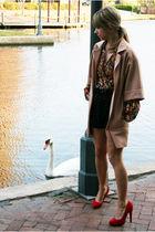 red vintage blouse - beige vintage jacket - black Urban 1972 skirt - red shoes