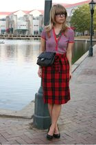 red Gap top - red Urban Outfitters skirt - black shoes - black Chanel bag