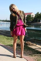 pink vintage dress - green Arden B jacket - gold Bebe shoes
