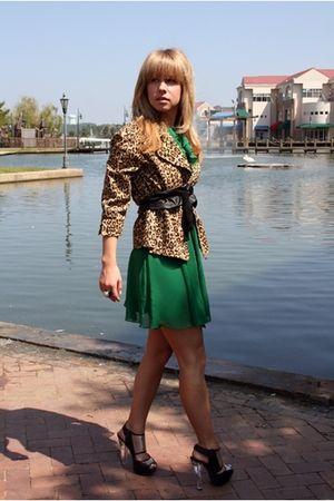 brown vintage jacket - green Forever 21 dress - black Aldo shoes