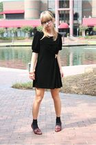 black forever dress - black socks - brown vintage shoes