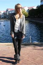 gray Arden B blazer - white top - blue Arden B shorts - black tights - black Ald