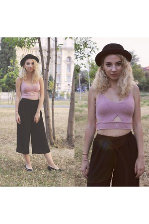 light pink Bershka top - black Bershka pants
