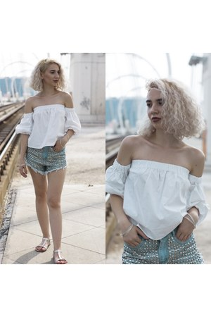 white Bershka shirt - sky blue Lucky Boutique shorts