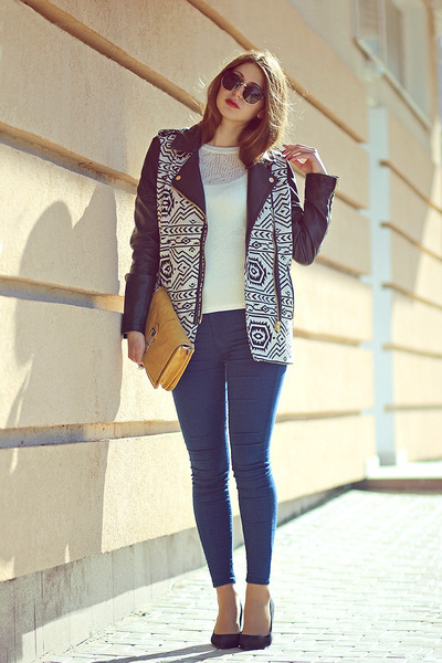 black Tally Weijl jacket - navy Topshop jeans - ivory new look sweater