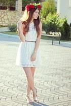 off white Forever21 dress - silver Forever21 sandals