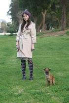beige thrift coat - purple Ebay stockings - purple Zara hat - purple Aldo shoes