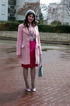 pink thrift skirt - gray vintage purse - pink thrift-Zara coat - pink Moschino s
