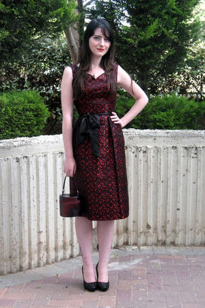 red vintage dress - black Marni shoes