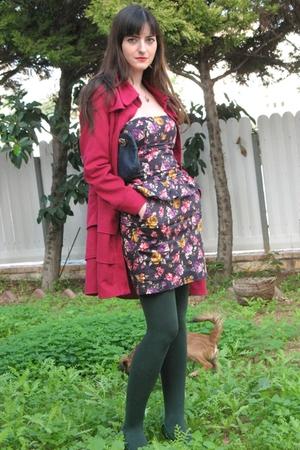 pink Ebay coat - blue Zara dress