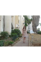 beige thrift dress - white Ebay skirt - silver Marni shoes
