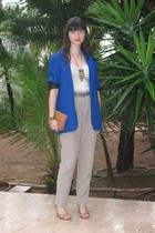 blazer - top - pants - purse - necklace - shoes