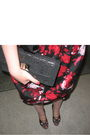 Red-oasis-dress-black-aldo-purse-black-dries-van-noten-shoes