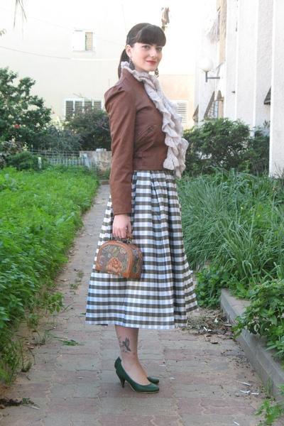 brown Ebay jacket - white thrift skirt - brown thrift purse