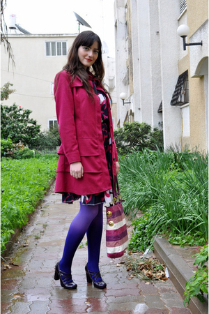 purple Ebay stockings - pink Ebay coat - purple thrifed dress - purple Aldo shoe