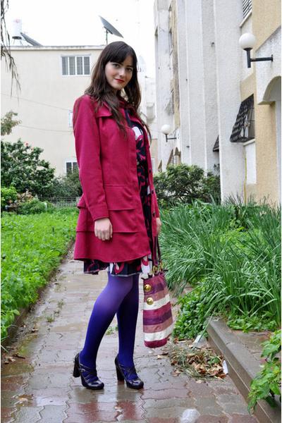 purple Ebay stockings - pink Ebay coat - purple thrifed dress - purple Aldo shoe