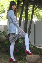 silver dress - white Nine West shoes - Ebay jacket