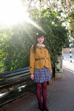 yellow Ebay jacket - purple dress - red thrifted shoes