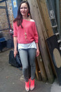 Hot-pink-neon-office-heels-heather-gray-dorothy-perkins-jeans