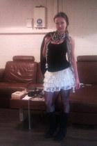 rah-rah lace Jane Norman skirt - suede asos boots - Bershka jacket