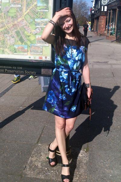 heather gray new look bracelet - blue tunic Dorothy Perkins dress