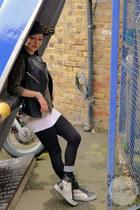 black unbranded hat - dark brown unbranded sweater - black asos leggings
