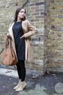 Camel-ankle-street-style-boots-black-ann-taylor-loft-dress