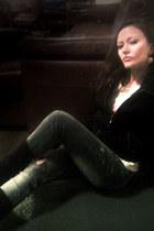 black Bershka jacket - black asos boots - heather gray Bershka jeans