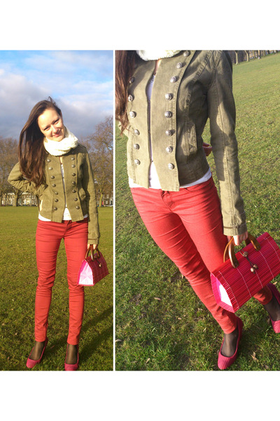dark khaki denim La Redoute jacket - ruby red super skinny Dorothy Perkins jeans