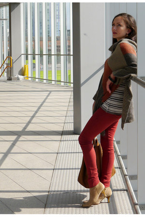 tan Street Style boots - red super skinny Dorothy Perkins jeans