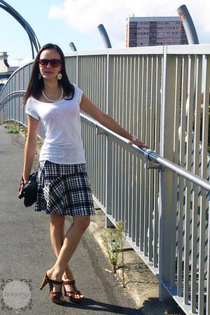 black check Dorothy Perkins skirt - dark brown ray-ban sunglasses