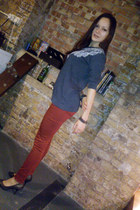 brick red super skinny Dorothy Perkins jeans - black Dorothy Perkins heels