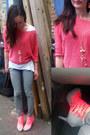 Hot-pink-neon-office-heels-heather-gray-dorothy-perkins-jeans