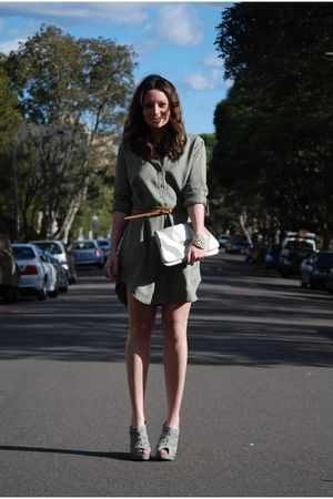 white urban originals bag - gray Forever 21 boots - green Zara dress